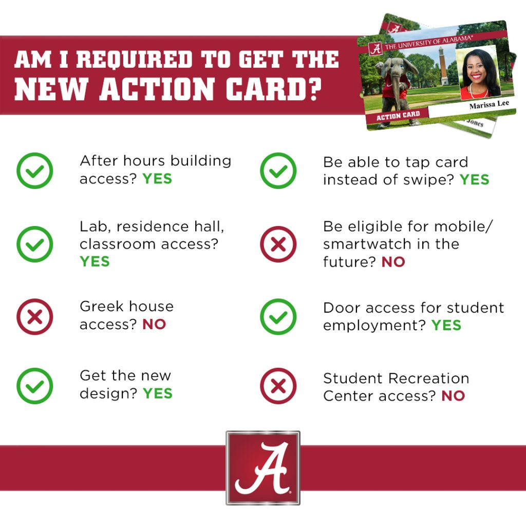 New Action Card Info for Students – | The University of Alabama