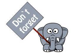 Cute elephant holding Don't Forget sign